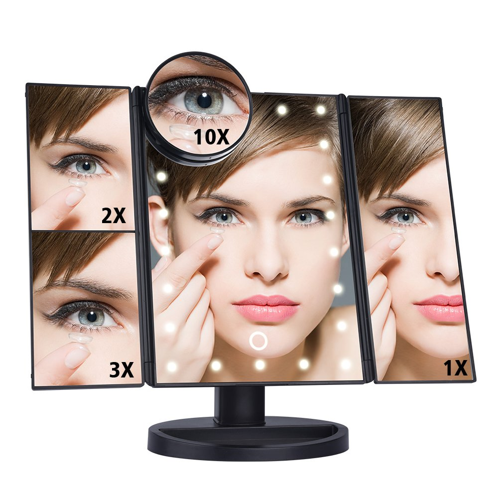 Huston Lowell Makeup Mirror 24LED Lighted Tri-fold Vanity Mirror with Touch Screen 10X/3X/2X/1X Magnification USB Charging 180°Adjustable Stand for Countertop Cosmetic Makeup (Black)