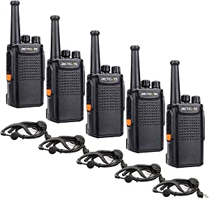 Retevis RT67 Walkie Talkies Adults Rechargeable 3000mAh Battery Mini Business FRS 2 Way Radios with Earpiece Hands Free Emergency Alarm LED Flashlight(5 Pack)