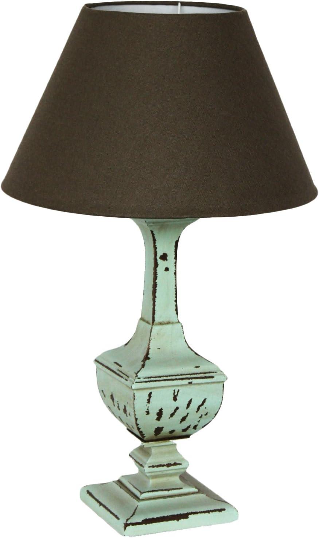 Lámpara de pie de mesa verde con tulipa marrón estilo shabby- H60 x D35 cm: Amazon.es: Hogar