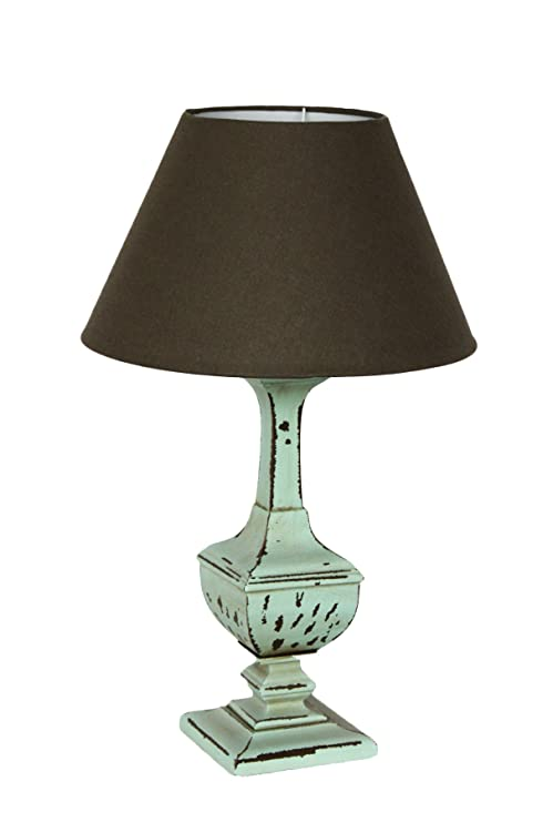 Lámpara de pie de Mesa Verde con tulipa marrón Estilo Shabby- H60 ...