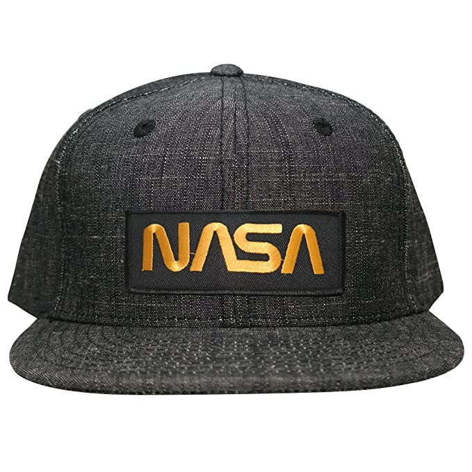 7150ac352 Armycrew NASA Worm Gold Text Embroidered Patch Washed Denim Snapback Cap