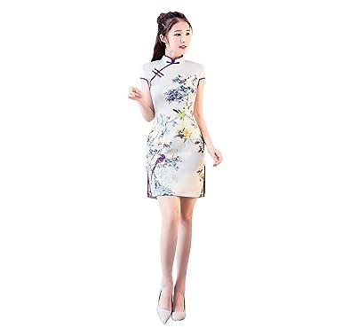 ACVIP Womens Flower Bird Print Cap Sleeve Short Chinese Cheongsam Qipao Party Prom Dress (UK