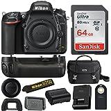 Nikon D750 FX-Format DSLR Camera Body with Nikon MB-D16 Battery Grip + 64GB Card Bundle
