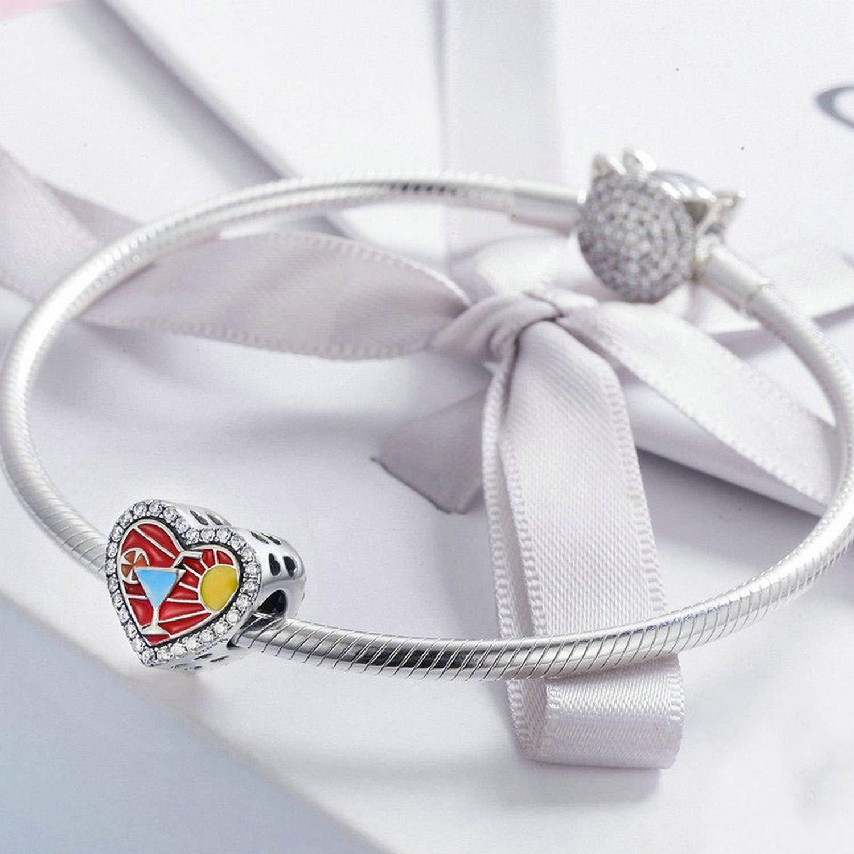 EverReena Summer Holiday Elegant CZ Stone Sun Heart Silver Beads Bracelets