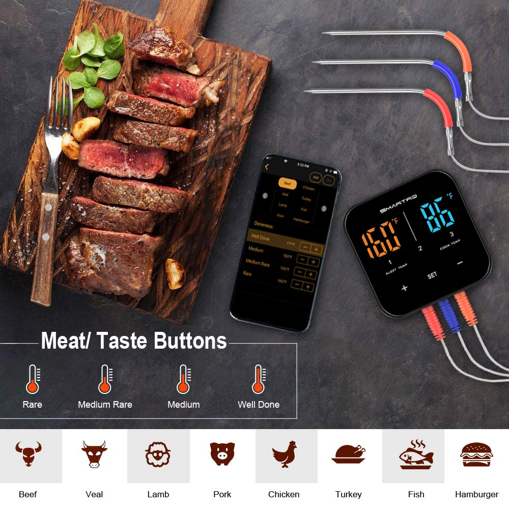 SMARTRO ST55 Wireless Digital Meat Thermometer for Oven Grill Kitchen Food Cooking Smoker BBQ with 3 Probes by SMARTRO (Image #4)