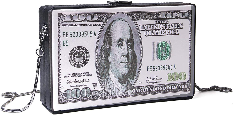Oweisong Women Retro Dollar Bill Box Clutch Camera Snapshot Shoulder Bags Cute Crossbody Evening Purse
