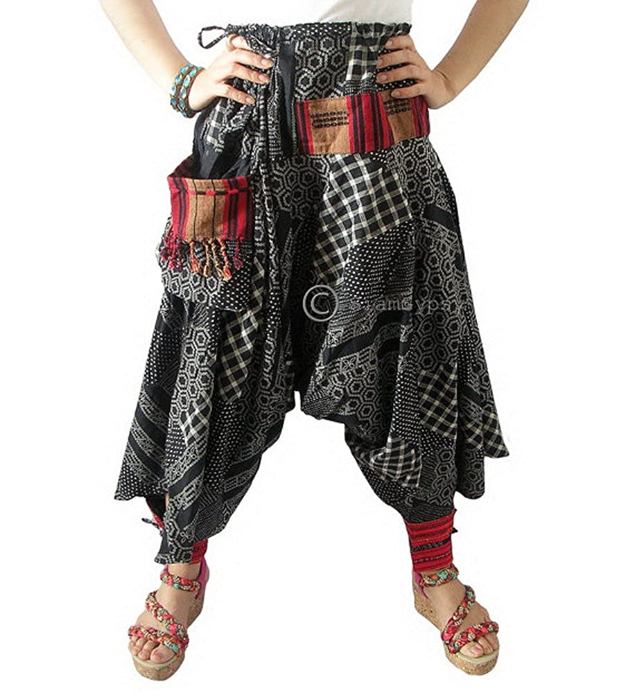 72354e556 Amazon.com: Harem Pants Drop Crotch Boho Genie Hippie Gypsy Yoga Trouser  Baggy Black: Clothing