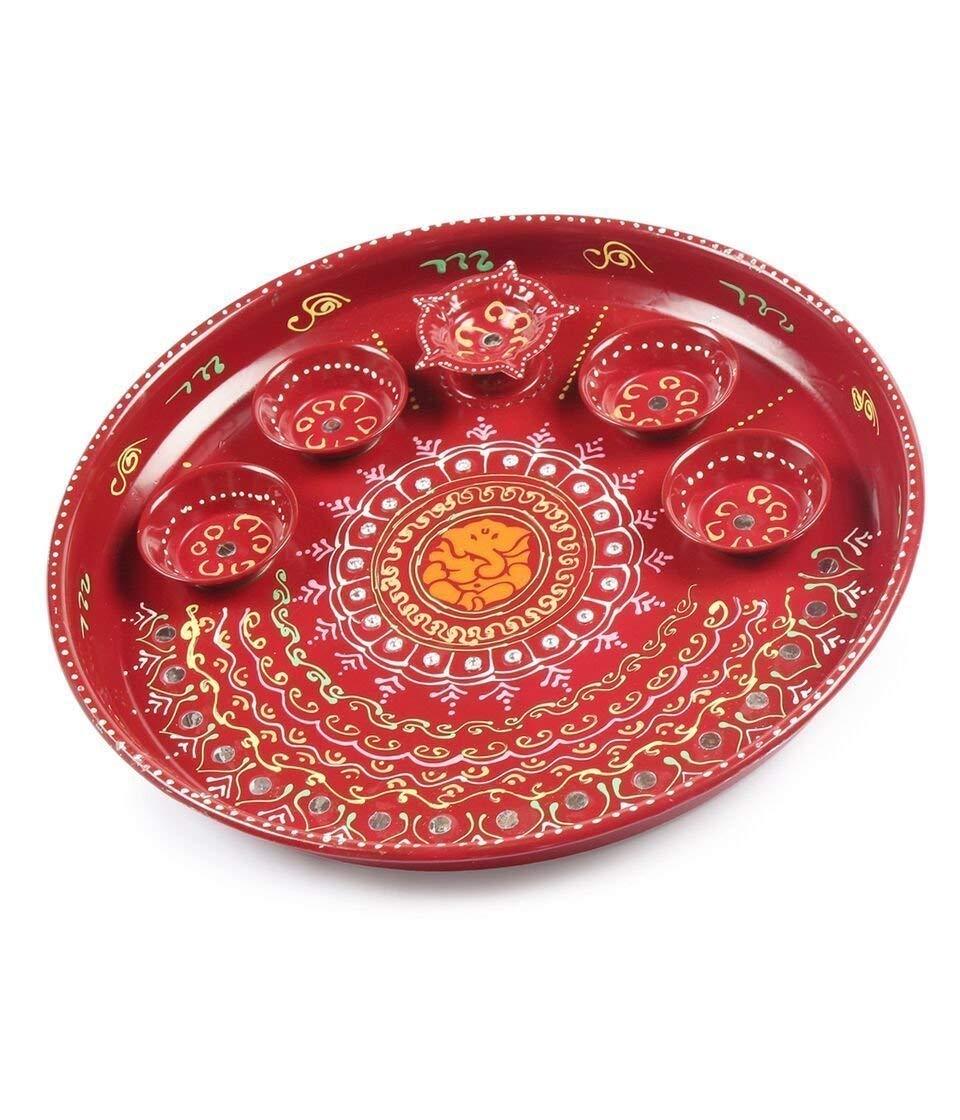 DEVIKA Ganesha Pooja THALI Handicraft Hand Painted Thali,Priceless Gift Raksha Bandhan, Haldi Kumkum Holder & Ganesh Pooja Thali Pooja & All Auspicious Occasions & Daily Home Pooja Items