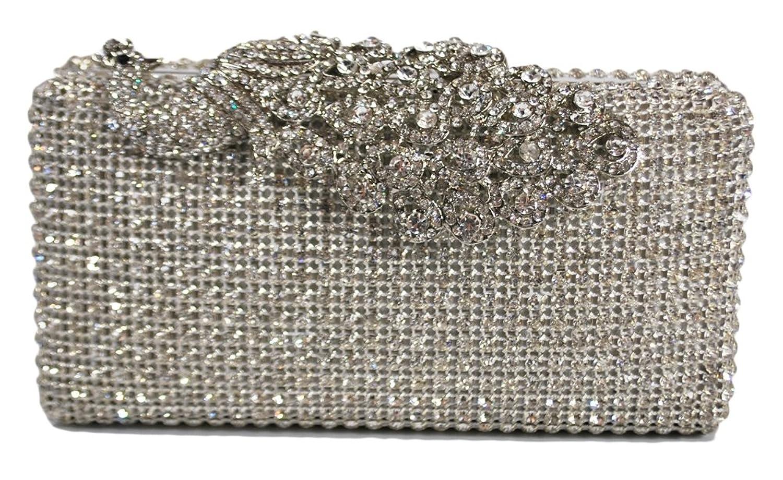 Chicastic Crystal Stud Peacock Motif Hard Box Evening Clutch Bag