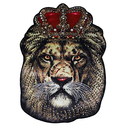 Image Unavailable. Image not available for. Color  Oversized Fashion Beads  Embroidered Sequins Patch Decals for Clothing Accessories Lion Head Applique  ... c6e707444e12
