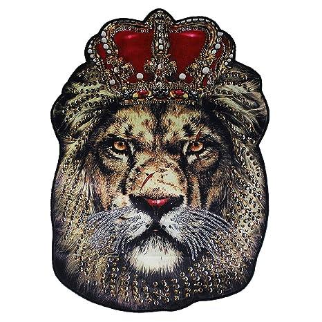 Parches de tela de lentejuelas grandes de Emitomo con cabeza de león grande y King para