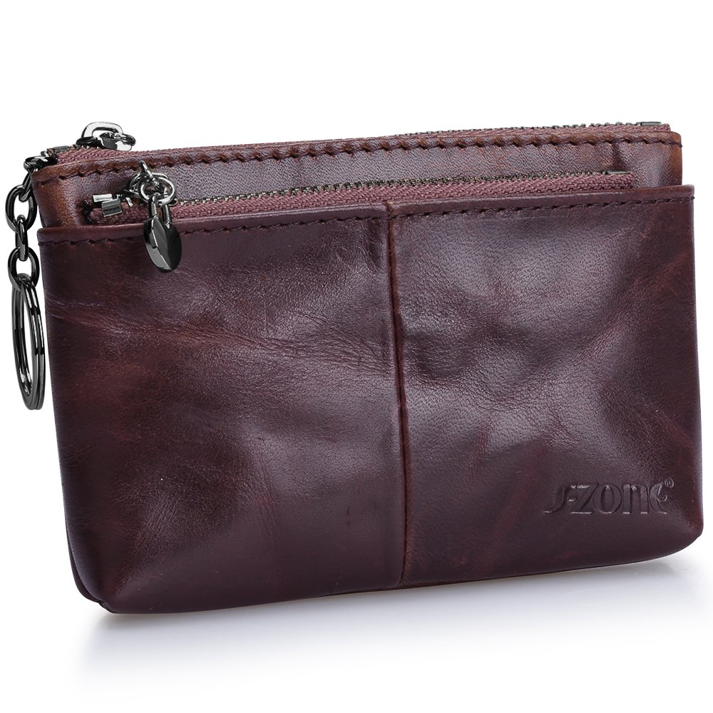 S-ZONE Women's Genuine Leather Mini Wallet Change Coin Purse Card Holder with Key Ring (Vintage Deep Brown) by S-ZONE