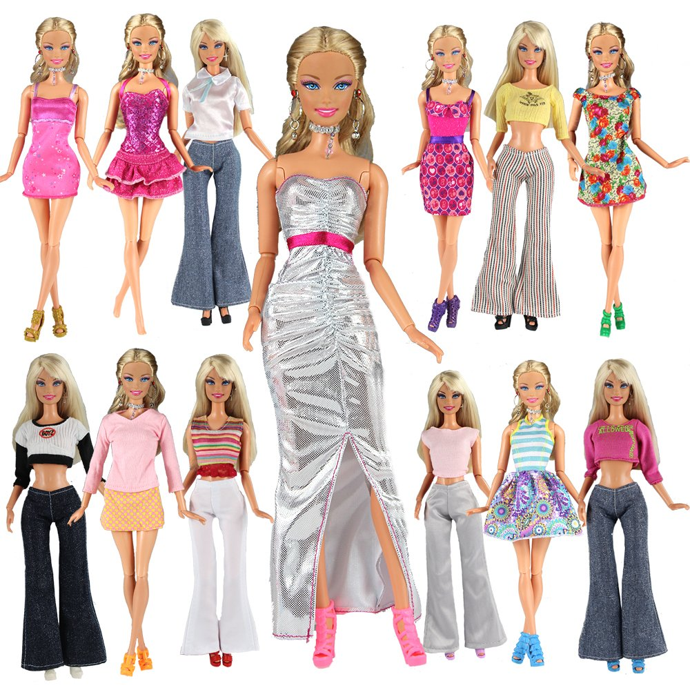 Barwa Lot 20 Items 10 Set Fashion Handmade Clothes Outfit 10 Pairs Shoes for Barbie Doll ZITA ELEMENT