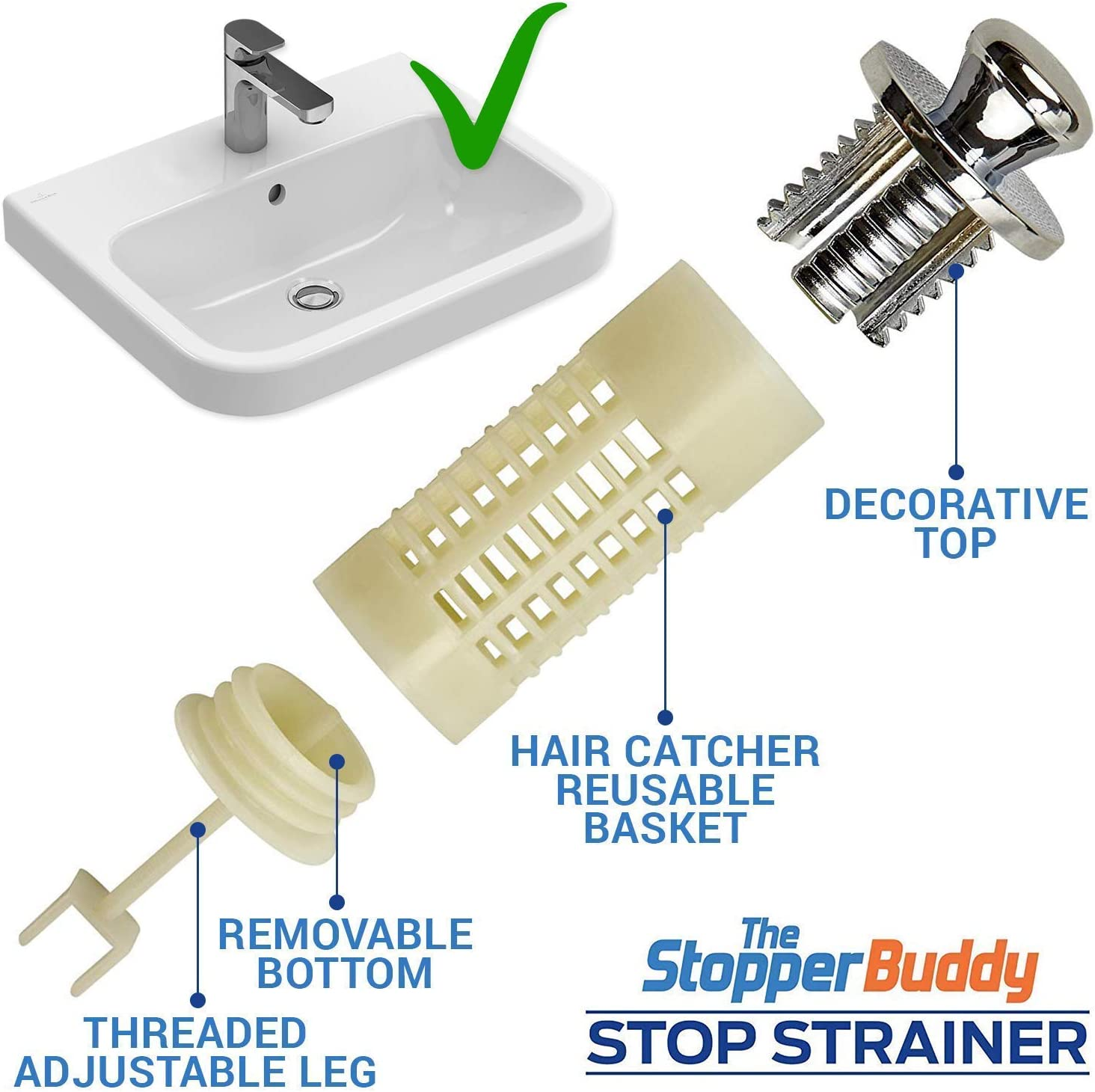 Amazon Com The Stopper Buddy Strainer Bathroom Sink Drain Hair Catcher For Drains With Pop Up Stopper Universal Drain Protector With Patented Strainer Baskets Filter Reusable Easy To Install Clean