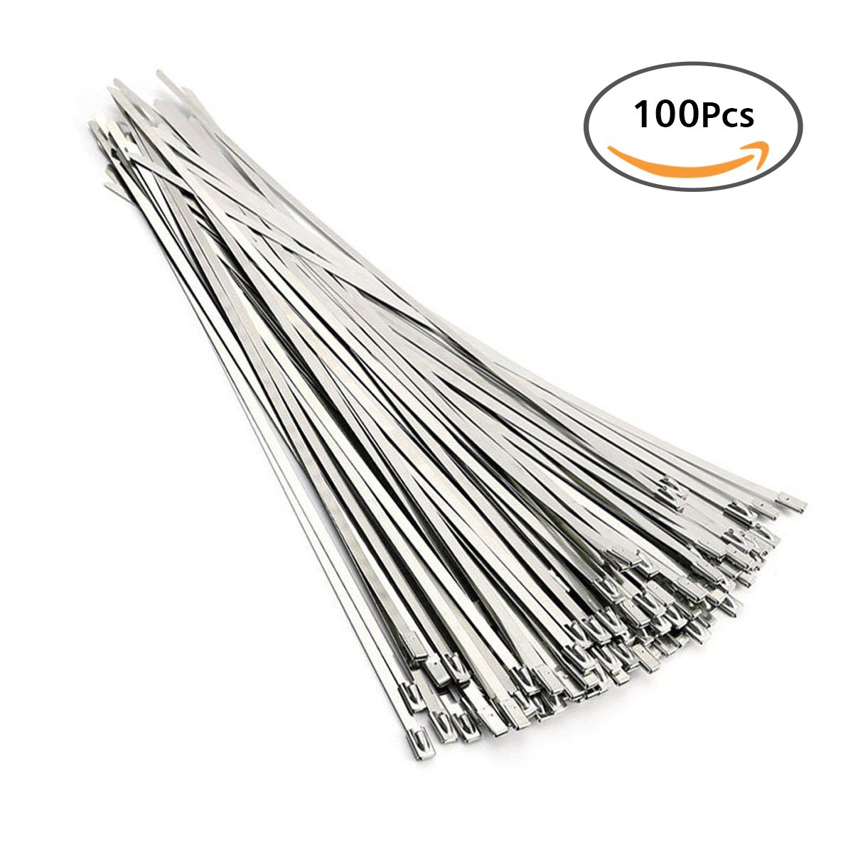 Stainless Steel Cable Tie, URBEST 304 Stainless Steel 11.8'' Cable Zip Ties Exhaust Wrap Coated Locking, 100pcs