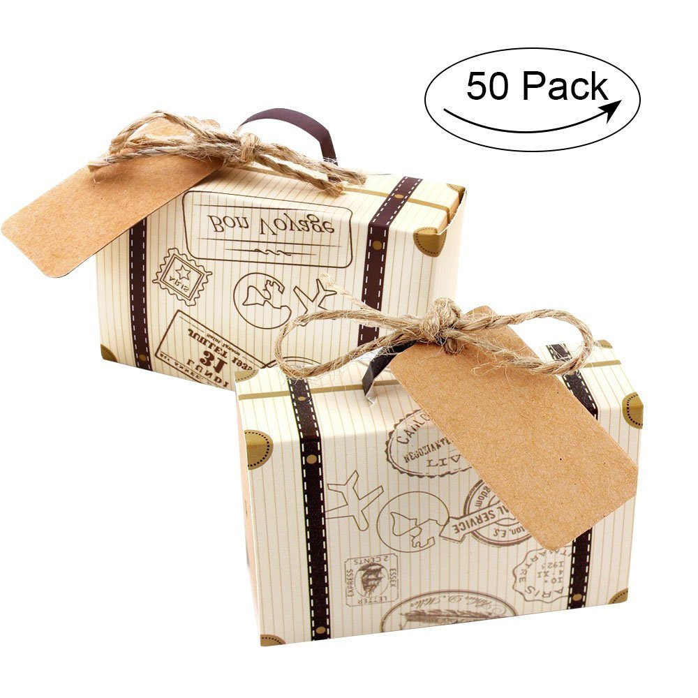 Morinostation 50PCS/Set Candy box with burlap twine and kraft paper lable tag for wedding,bridal shower,baby shower,travel theme party,birthday party decoration-easy to assemble (kraft paper)