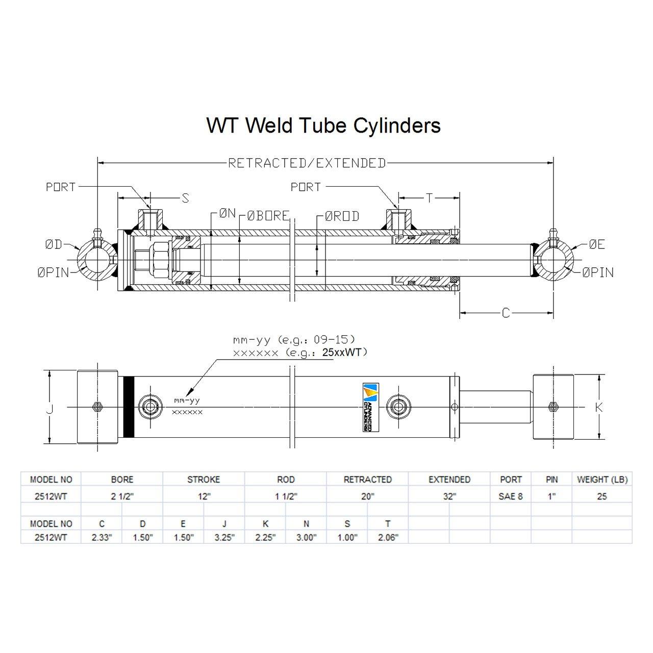 Advanced Cylinders WT Weld Cross Tube Hydraulic Cylinder 3 1//2 Bore x 40 Stroke x 1 3//4 Rod x SAE 8 Port x 3000 PSI