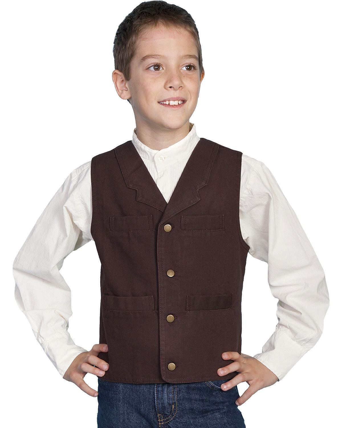 Victorian Kids Costumes & Shoes- Girls, Boys, Baby, Toddler Scully Boys Canvas Vest - Rw041k Wal $36.02 AT vintagedancer.com