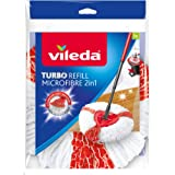 Vileda EasyWring and Clean Turbo 2-in-1 Microfibre Mop Refill Head, White/Red