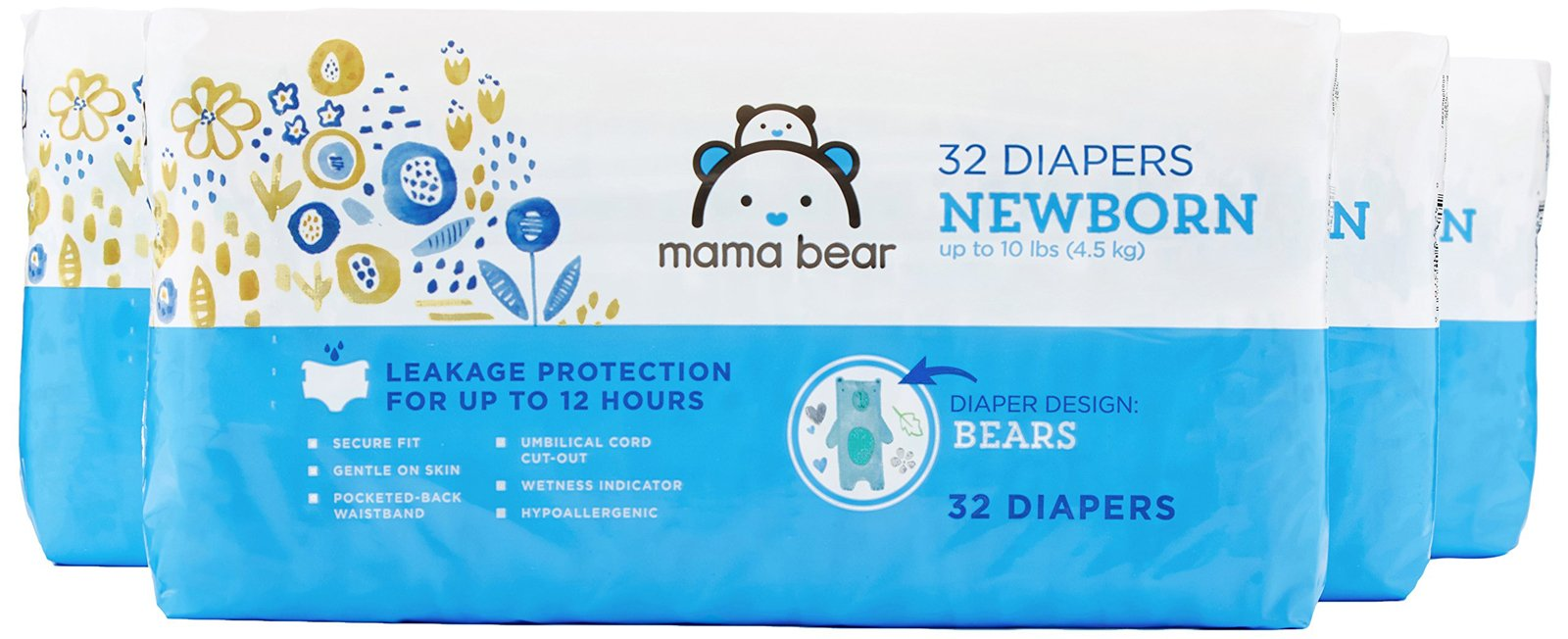 Amazon Brand - Mama Bear Diapers, Newborn, 128 Count, Bears Print (4 packs of 32)