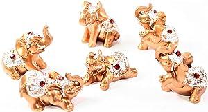 Set of 6 Gold Color Lucky Elephants Statues Feng Shui Figurine Home Decor Housewarming Birthday Congratulatory Gift