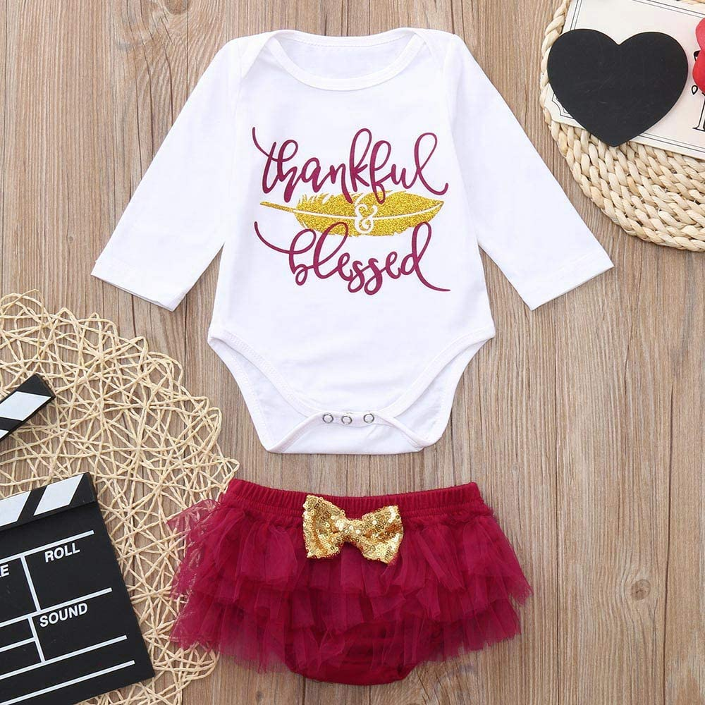 Christmas Girl Outfits,Fineser Cute Infant Baby Girls Thanksgiving Day Letter Print Romper Jumpsuit+Bow Shorts Outfits 2 Set