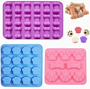 Puppy Dog Paw and Bone Silicone Molds, Sweetfamily 3 Pack Non-Stick Food Grade Silicone Molds for Baking Chocolate, Candy, Jelly, Ice Cube, Dog Treats,Oven Microwave Freezer Dishwasher Safe