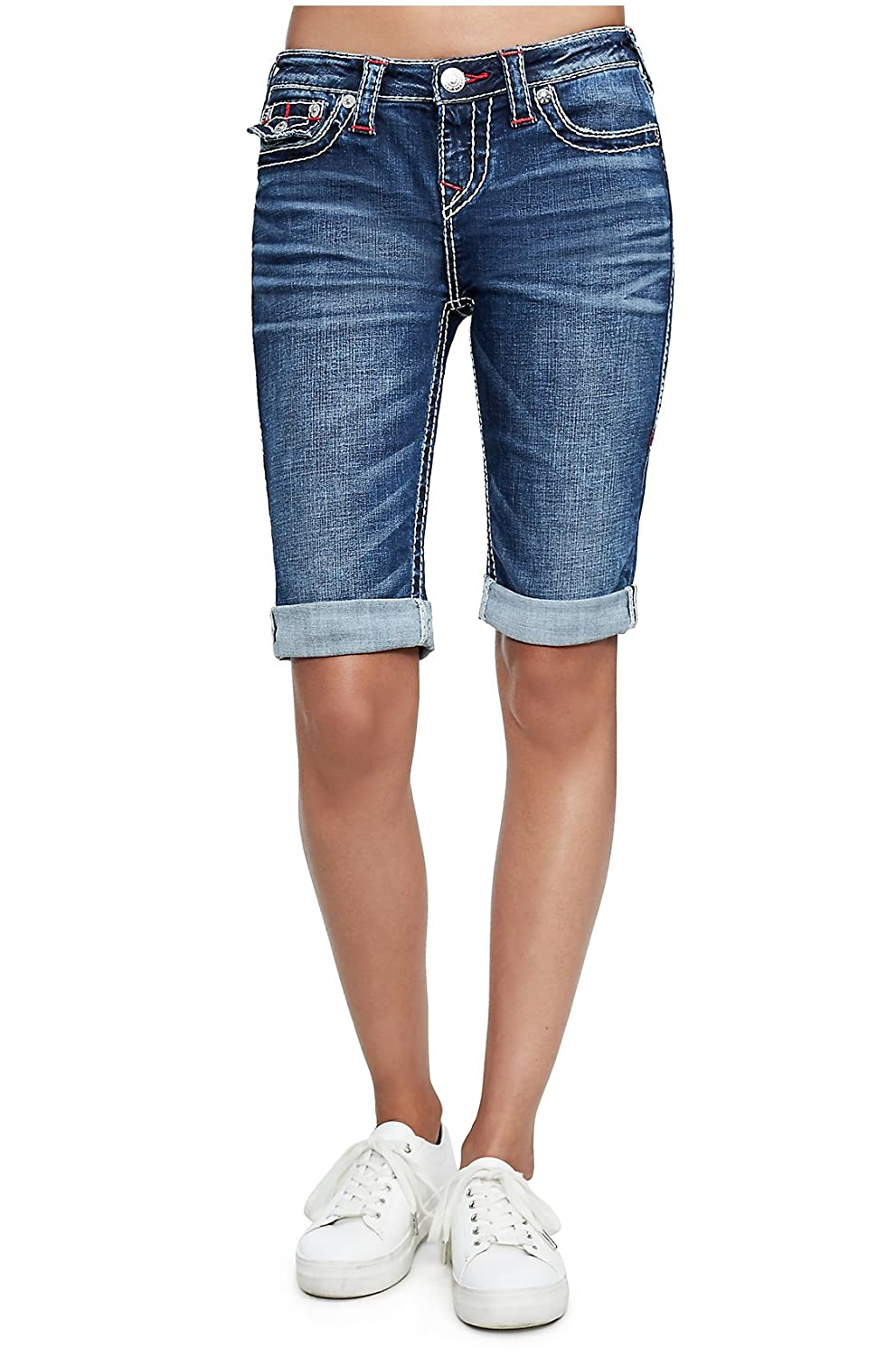 f9eb1579be Amazon.com: True Religion Women's Big T Bermuda Jean Shorts w/Flap Pockets  in Magnetic Lure: Clothing