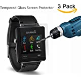 Kimilar Glass Screen Protector for Garmin Vivoactive, [3-Packs] Tempered Glass Premium HD Clear Film Ultra High Definition Invisible and Anti-Bubble Shield