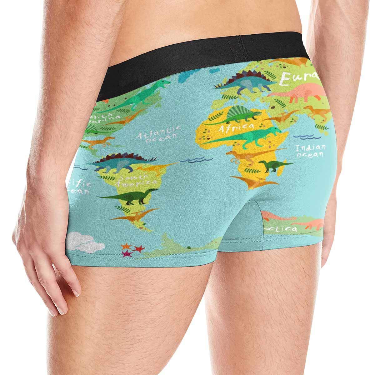 XS-3XL INTERESTPRINT Boxer Briefs Mens Underwear Dinosaurs World Map