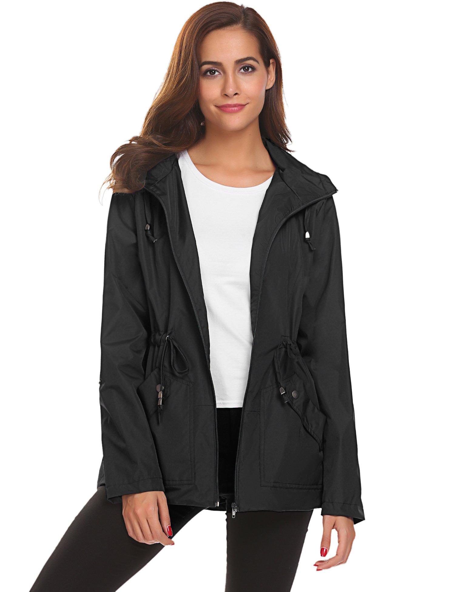 Romanstii Lightweight Coats for Women,Windbreaker Rain Jacket with Mesh Liner Black,XL by Romanstii