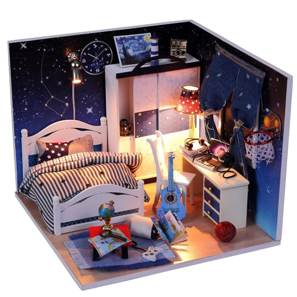 Flever Dollhouse Miniature DIY House Kit Creative Room With Furniture and Glass Cover for Romantic Artwork Gift( Blue Prince )