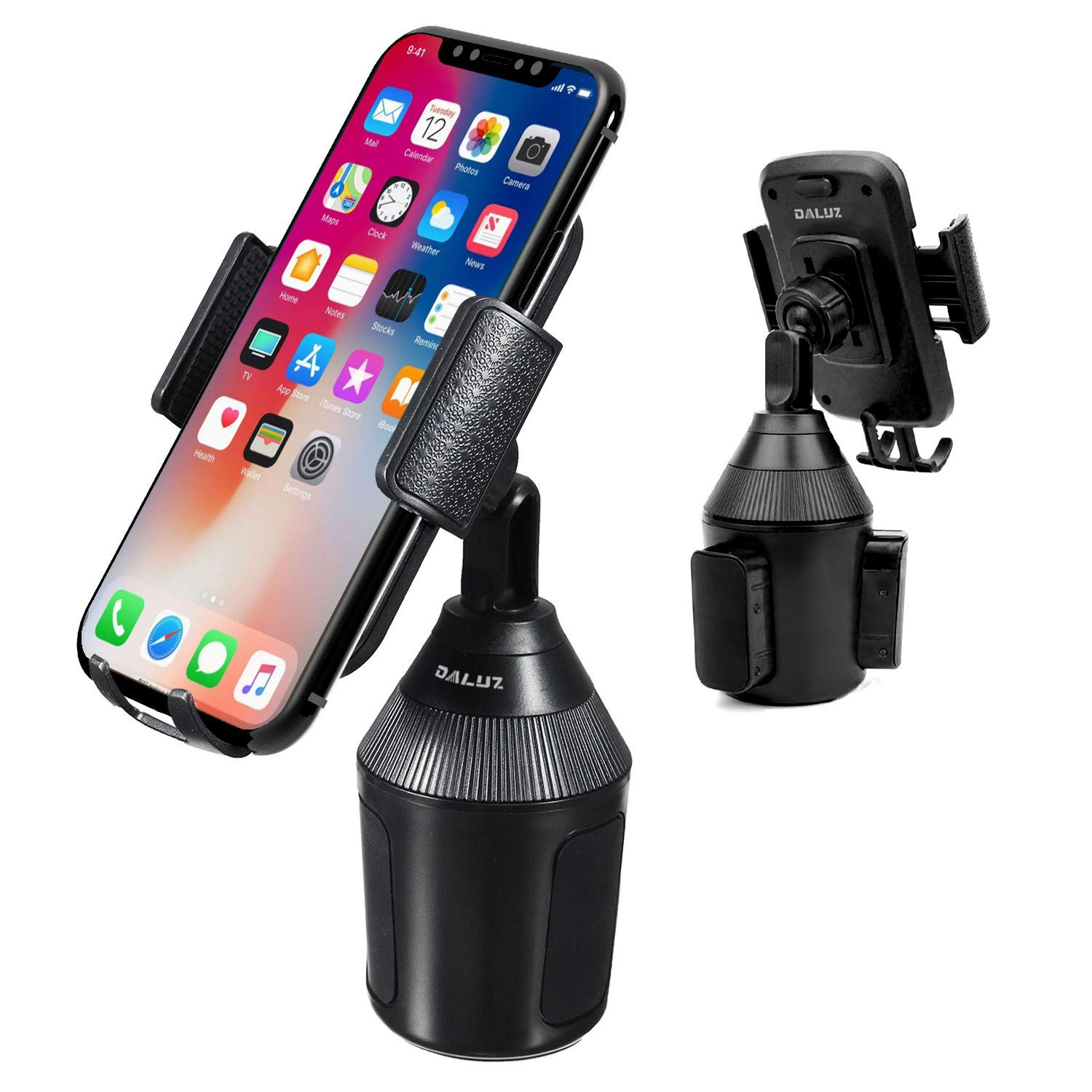 Cup Holder Phone Mount for Car Universal Adjustable Car Mount for iPhone Xs/Max/X/XR/8/8 Plus,Samsung Note 9/ S10+/ S9/ S9+/ S8 by DALUZ