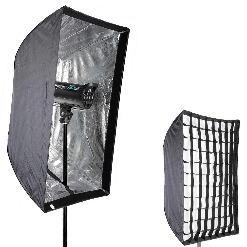 Neewer Photo Studio 24'' x 36''/60 x 90cm Rectangle Umbrella Type Speedlite Softbox with Grid for Portraits,Product Photography and Video Shooting