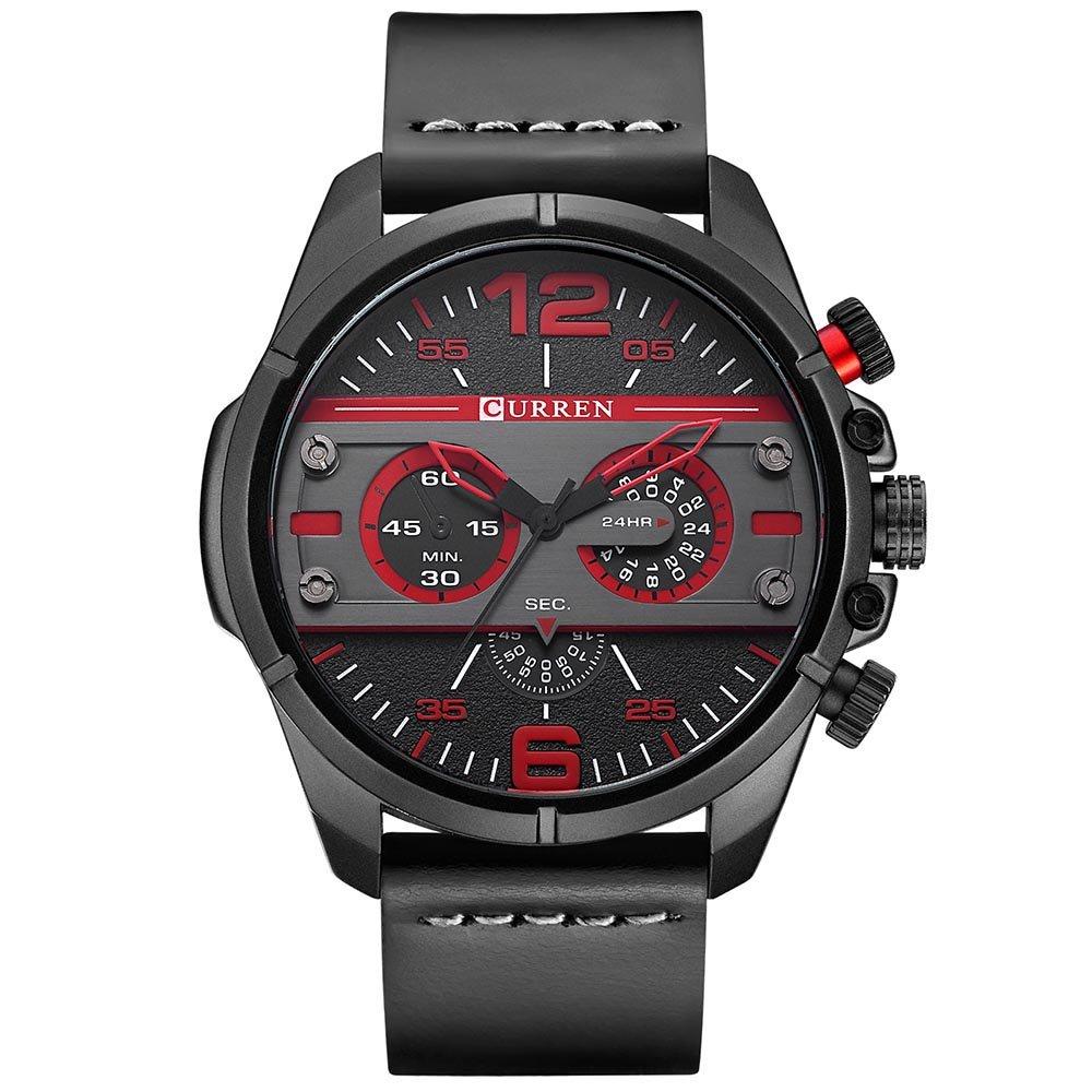 CURREN Original Brand Men's Sports Waterproof Leather Strap Wrist Watch 8259 All Black by CURREN (Image #1)