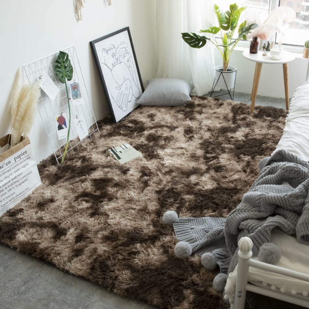 High Pile Shaggy Area Rugs,Super Soft Not-Slip Fluffy Bedroom Carpet Thick Rectangle Modern Carpet Suitable for Home Decor -Dark Brown L200xw140cm(79x55inch)