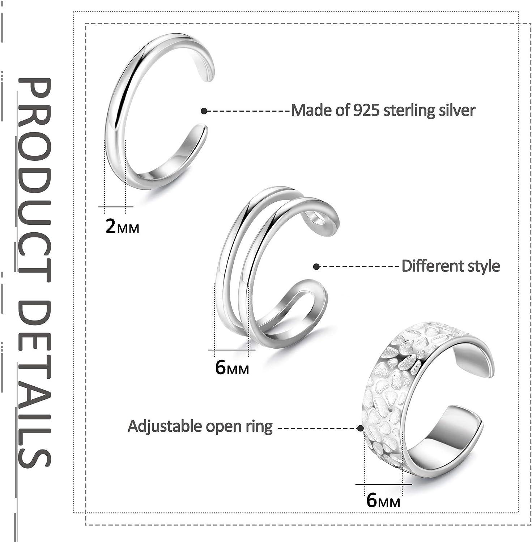 FUNRUN JEWELRY 3 PCS Sterling Silver Toe Rings for Women Minimalistic Open Adjustable Rings Foot Jewelry Set