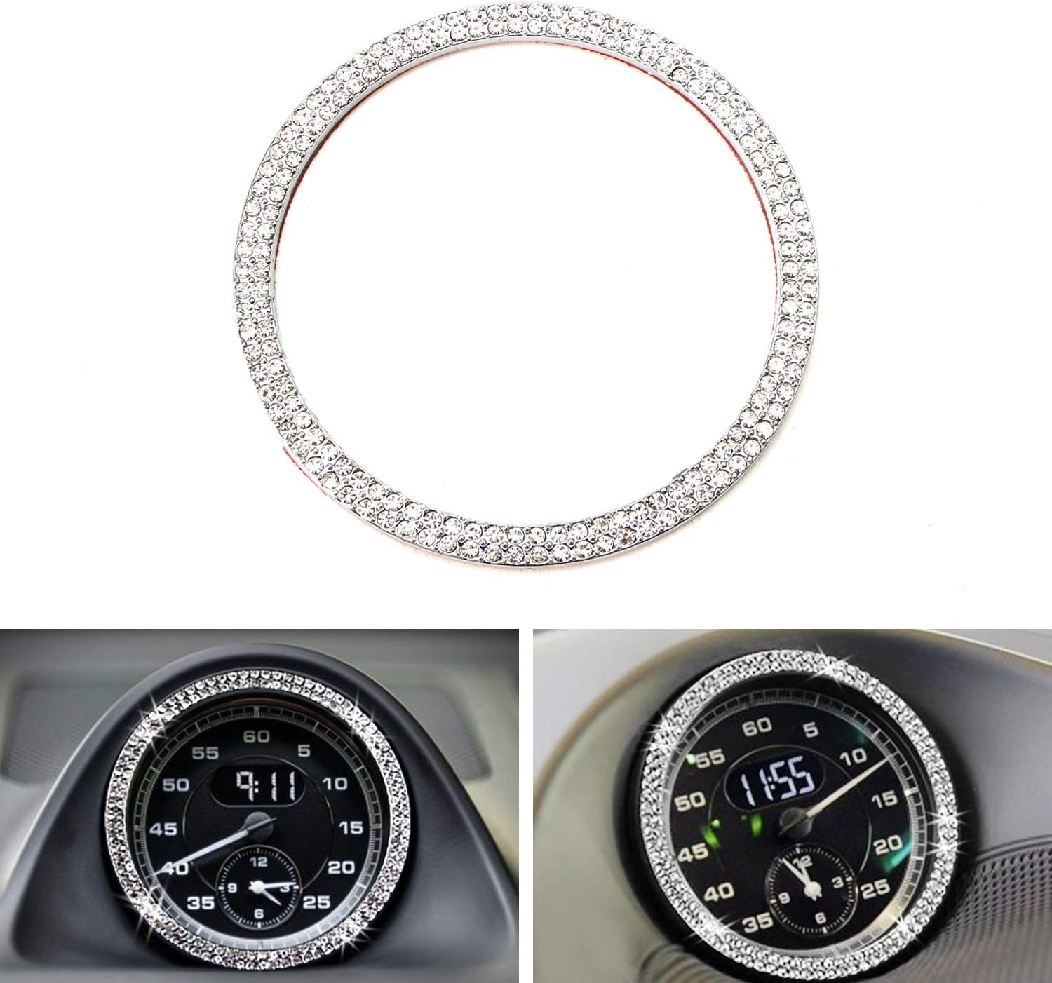 iJDMTOY (1) Crystal Silver Chrome Interior Dashboard Clock Surrounding Decoration Ring Trim Compatible With Porsche 911 Cayenne Boxster Macan Panamera, etc
