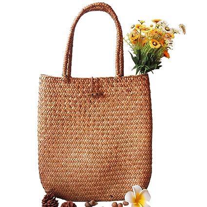 73812c0d3 Amazon.com: cheerfullus Hand-Woven Straw Tote Retro Beach Bag Large Rattan  Flower Basket Travel Handbag Shopping Bag for Women: Home & Kitchen