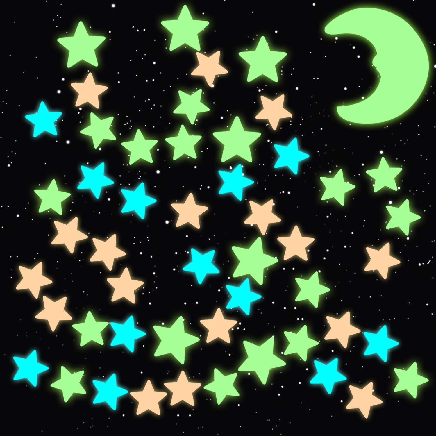 Assorted 100 x Glow In The Dark Stars Kids Room Toy Stick Ceiling Green