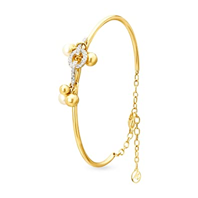 1be48fb25 Mia by Tanishq 14KT Yellow Gold, Diamond and Pearl Bangle for Women:  Amazon.in: Jewellery