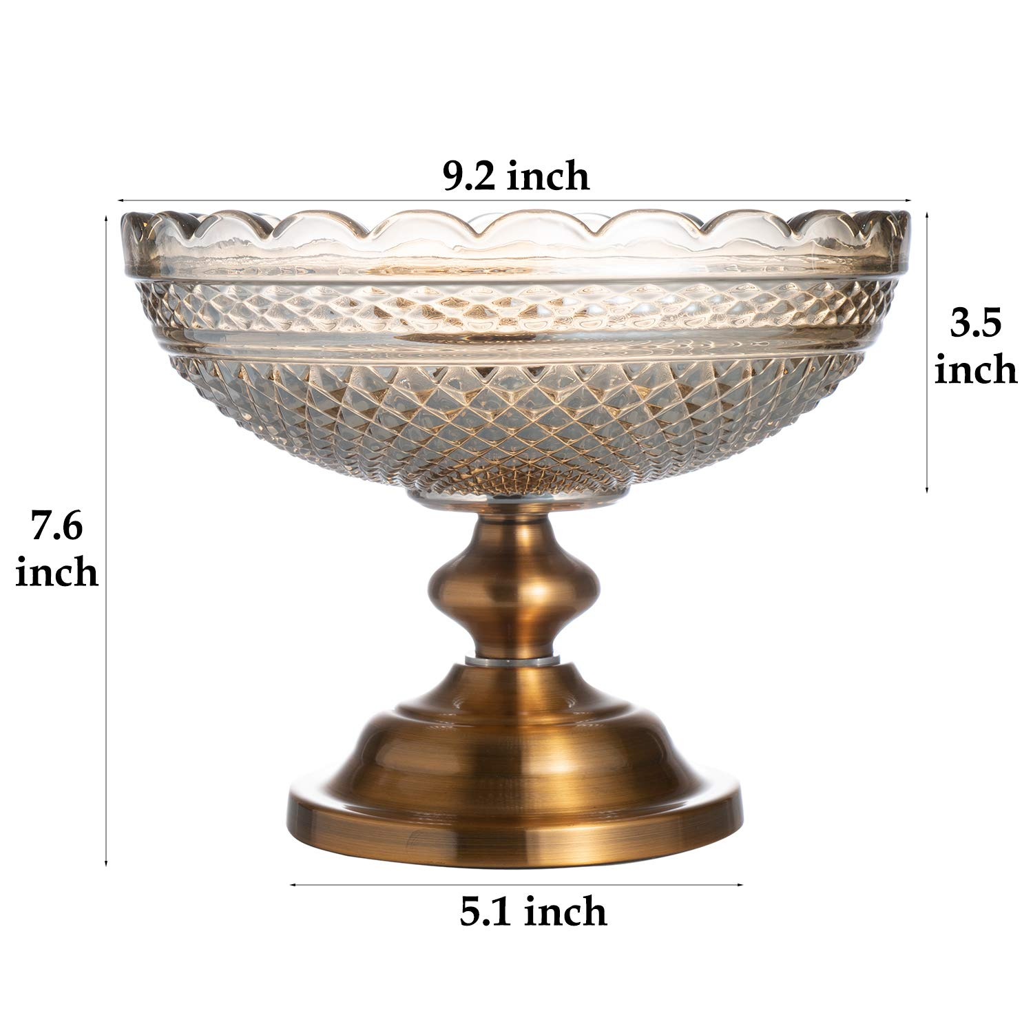 Glass Pedestal Bowl Centerpiece Bowl Decorative Fruit Display Stand Vase Candy Dish for Home Party Wedding Dining Room Decoration Round Trifle Bowl Footed Compote Bowl Serving Bowl