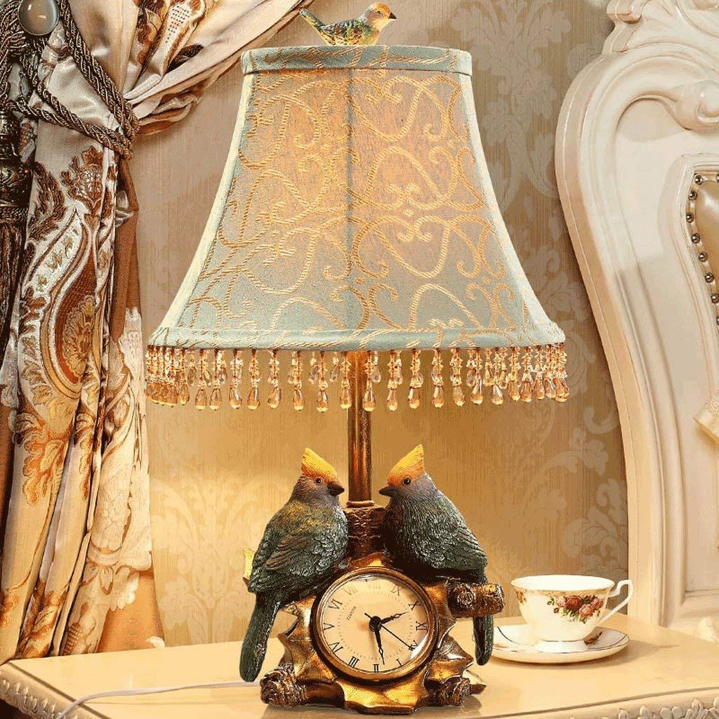 WHKFD Amerikanische Luxuslampe Manuelle Nachttischlampe, Blauer Tuch Lampenschirm, Vogel Uhr Interieur Mode Warme Kreative Schuhinnenlampe