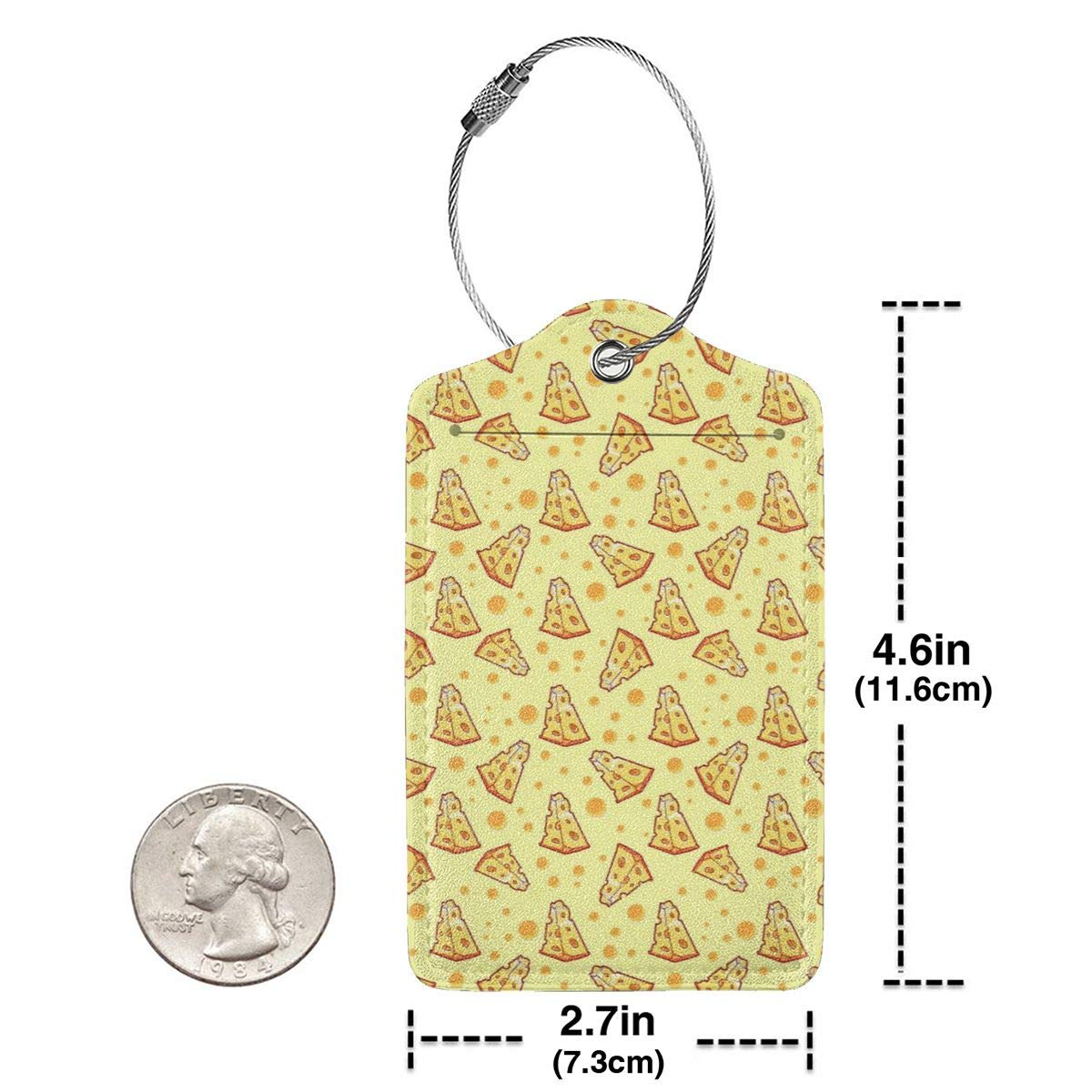 Pizza Cheese Luggage Tag Label Travel Bag Label With Privacy Cover Luggage Tag Leather Personalized Suitcase Tag Travel Accessories