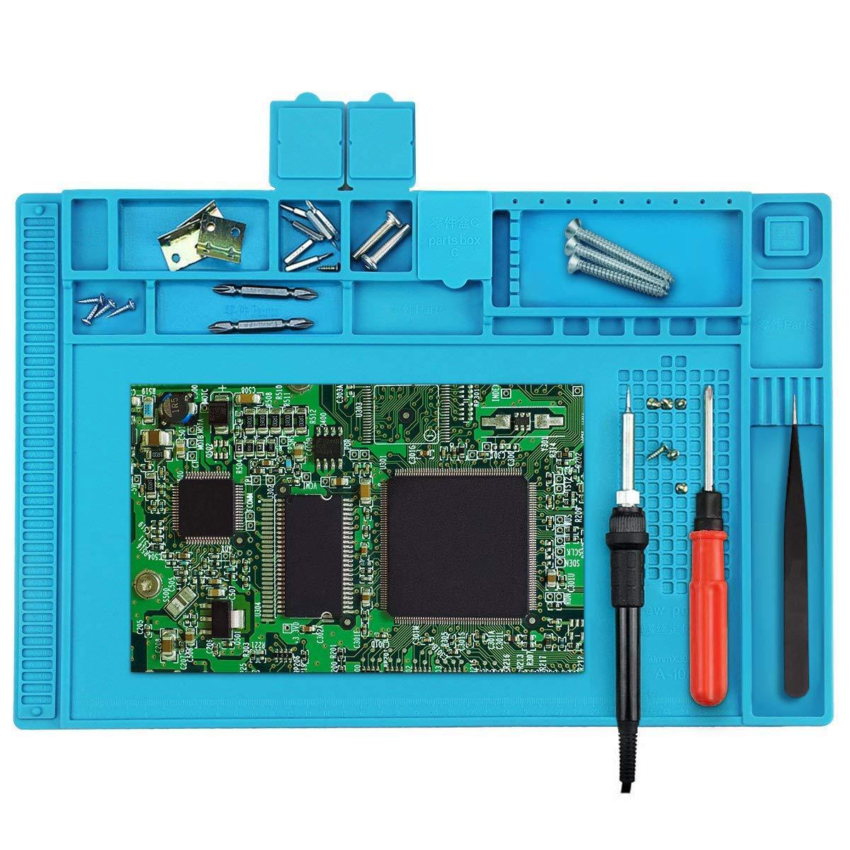 Tamlltide Anti-Static Soling Mat, 500 ℃ Résistant à la chaleur magnétique polyvalent Station de travail pour le brasage brasage réparation de montres de téléphone (45 x 30 cm)