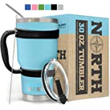 North Teal Stainless Steel Tumbler 5-Piece Set, 30 oz Vacuum Insulated, Travel Mug For Home, Office, School – Like Yeti…
