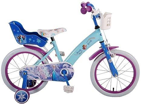 Bici Bicicletta Bambina Disney Frozen 16 Pollici Con Ruotine Cestino Portabambole Da 4 A 6 Anni Celeste