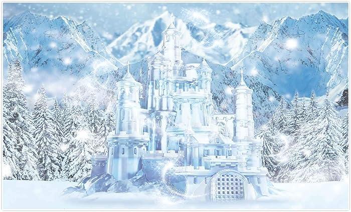 Allenjoy 5x3ft Winter Ice Castle Photography Backdrop Snowy Frozen Wonderland Scenery Landscape Background for Kids Newborn Babies 1st Birthday Party Decor Banner Baby Shower Portrait Photo Booth Prop