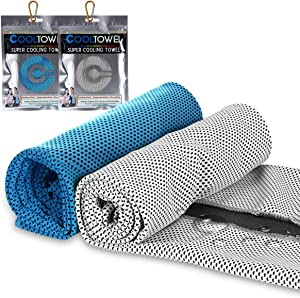 UPMCT Cooling Towel for Neck, Not Fade Microfiber Soft Breathable Towel for Sports, Fitness, Yoga, Camping (2 Pack Blue+Gray, 12in40in)
