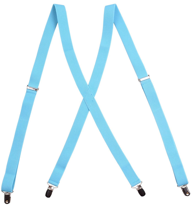 Amorismo Damen X Form 4 Clips Hosenträger A-Braces14-Blue125-M